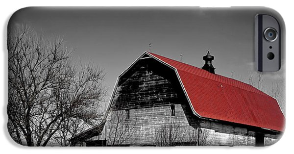 Red Roofed Barn iPhone Cases - Barn with the Red Roof iPhone Case by Mountain Dreams