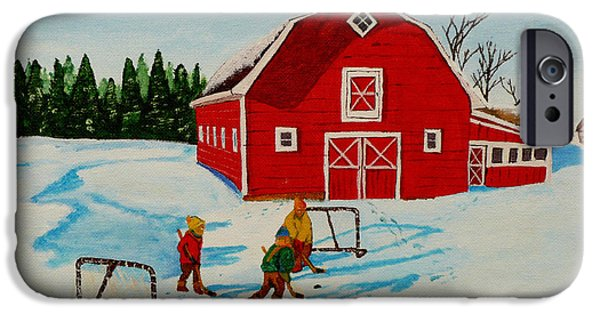 Hockey Paintings iPhone Cases - Barn Yard Hockey iPhone Case by Anthony Dunphy
