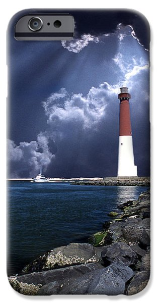 Beach Art iPhone Cases - Barnegat Inlet Lighthouse Nj iPhone Case by Skip Willits