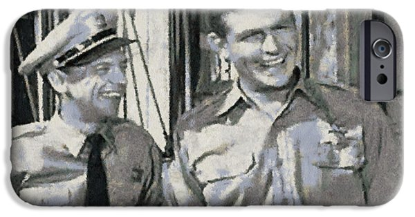 Don Knotts iPhone Cases - Barney Fife and Andy Taylor iPhone Case by Paulette B Wright