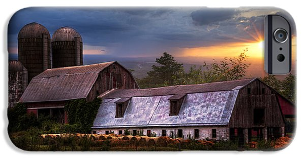 Old Barns iPhone Cases - Barns at Sunset iPhone Case by Debra and Dave Vanderlaan
