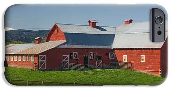 Mountain iPhone Cases - Barns In Field With Mountains iPhone Case by Panoramic Images