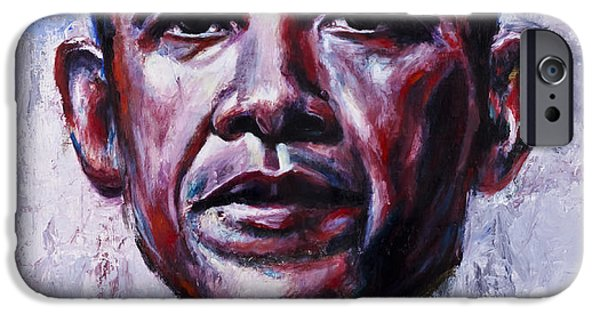 Obama iPhone Cases - Barock Obama iPhone Case by Mark Courage