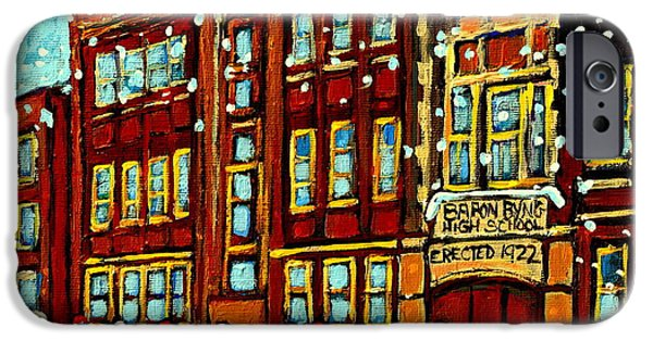 Hockey Paintings iPhone Cases - Baron Byng High School St Urbain Street Hockey Montreal Winter Scene Carole Spandau Montreal Artist iPhone Case by Carole Spandau