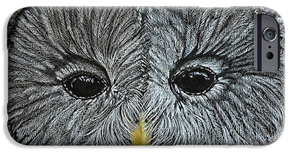 Close Up Drawings iPhone Cases - Barred Owl iPhone Case by Pandora Christy