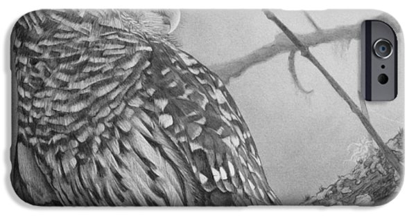 Animal Drawings iPhone Cases - Barred Owl iPhone Case by Tim Dangaran