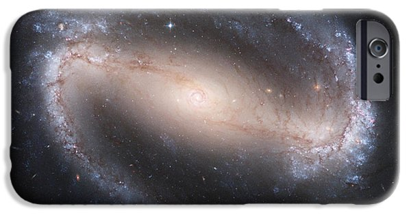 Galactic Paintings iPhone Cases - Barred Spiral Galaxy iPhone Case by Nasa
