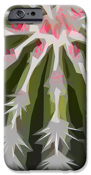 New Mexico Digital iPhone Cases - Barrel Cactus Collage iPhone Case by Carol Leigh