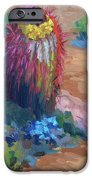 Dark Sky iPhone Cases - Barrel Cactus In Bloom iPhone Case by Diane McClary