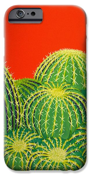 Barrel Paintings iPhone Cases - Barrel Cactus iPhone Case by Karyn Robinson