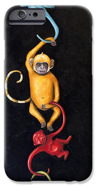 Barrel Paintings iPhone Cases - Barrel Of Monkeys iPhone Case by Leah Saulnier The Painting Maniac