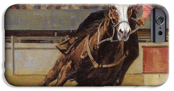 Barrel Paintings iPhone Cases - Barrel Racer iPhone Case by Don  Langeneckert
