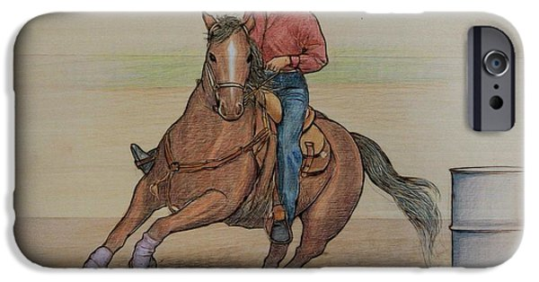 Horse Racing Pyrography iPhone Cases - Barrel Racing iPhone Case by Eileen Annest