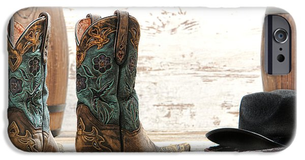 Cowgirl iPhone Cases - Barrel Racing iPhone Case by Olivier Le Queinec