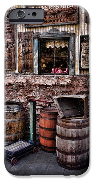 Wooden Crate iPhone Cases - Barrels and Signs iPhone Case by Ken Smith