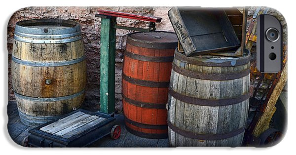 Wooden Crate iPhone Cases - Barrels Crates Freight Scale Dolly iPhone Case by Ken Smith