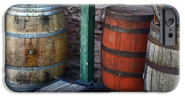 Wooden Crate iPhone Cases - Barrels Crates Freight Scale Dolly Square iPhone Case by Ken Smith