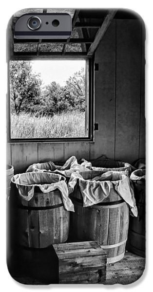 Nebraska iPhone Cases - Barrels of Beans - bw iPhone Case by Nikolyn McDonald
