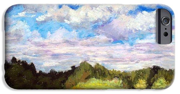 Field. Cloud Pastels iPhone Cases - Barrett House Meadow iPhone Case by Bonnie Ferguson Butler