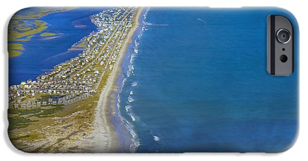 Topsail Island iPhone Cases - Barrier Island Aerial iPhone Case by Betsy A  Cutler