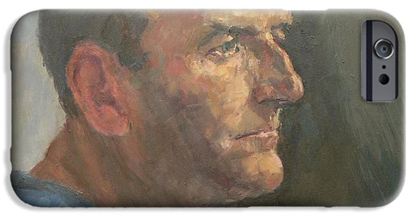 Sombre iPhone Cases - Barry, 2008 Oil On Canvas iPhone Case by Pat Maclaurin