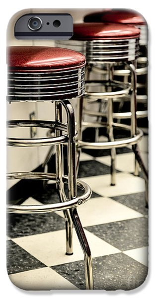 Barstools of vintage roadside diner iPhone Case by Phillip Rubino