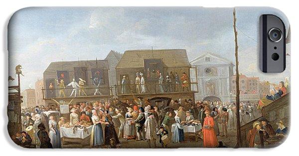 Balcony iPhone Cases - Bartholomew Fair Oil On Canvas iPhone Case by Egbert van Heemskerck