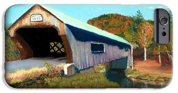 Fall Scenes Pastels iPhone Cases - Bartonsville Covered Bridge iPhone Case by David Henderson