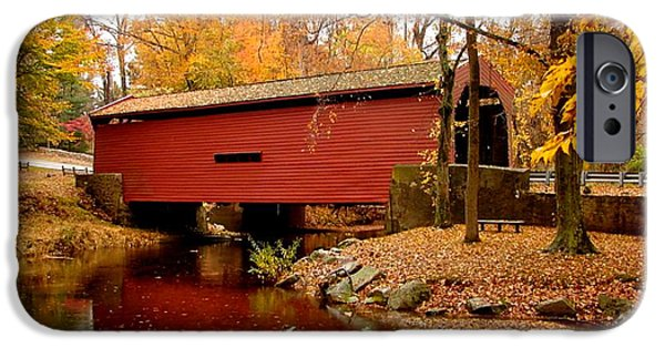 Covered Bridge Mixed Media iPhone Cases - Bartrams Covered Bridge iPhone Case by L Brown