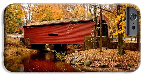 Covered Bridge Mixed Media iPhone Cases - Bartrams Covered Bridge with border iPhone Case by L Brown