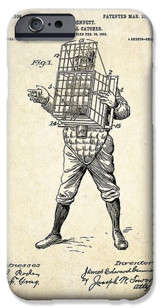 Baseball Art iPhone Cases - 1904 Base Ball Catcher Patent Art iPhone Case by Gary Bodnar