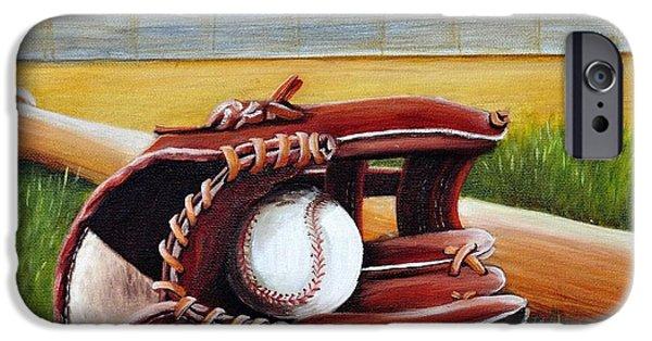 Baseball Glove Paintings iPhone Cases - Baseball iPhone Case by Adriana Fox