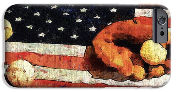 Baseball Glove Paintings iPhone Cases - Baseball An American Tradition iPhone Case by Dan Sproul