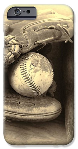 Ball And Glove iPhone Cases - Baseball And Baseball Bat iPhone Case by Dan Sproul