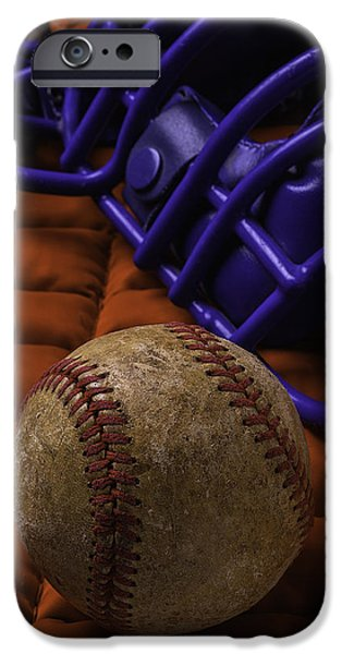 Worn Leather iPhone Cases - Baseball And Catchers Mask iPhone Case by Garry Gay