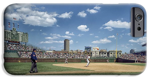 Wrigley iPhone Cases - Baseball at Wrigley Field in the 1990s iPhone Case by Mountain Dreams