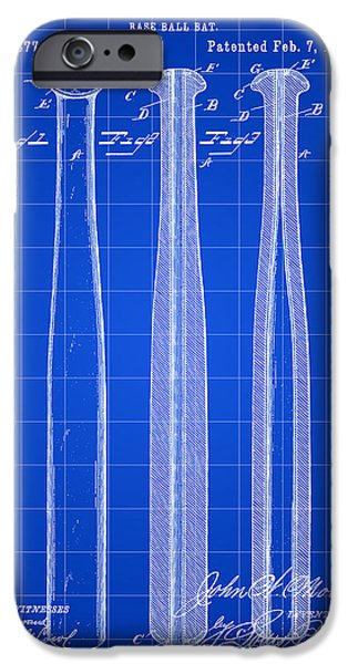 Fast Ball iPhone Cases - Baseball Bat Patent 1888 - Blue iPhone Case by Stephen Younts
