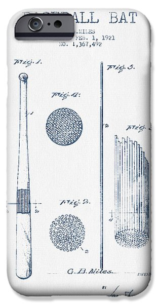 Baseball Glove iPhone Cases - Baseball Bat Patent Drawing From 1921 - Blue Ink iPhone Case by Aged Pixel