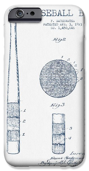 Baseball Glove iPhone Cases - Baseball Bat Patent Drawing From 1923 - Blue Ink iPhone Case by Aged Pixel