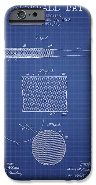 Baseball Glove iPhone Cases - Baseball Bat Patent From 1908 - Blueprint iPhone Case by Aged Pixel