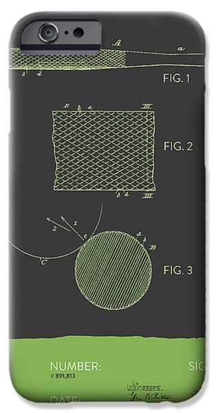 Baseball Glove iPhone Cases - Baseball Bat Patent From 1908 - Gray Green iPhone Case by Aged Pixel