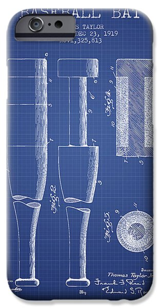 Baseball Glove iPhone Cases - Baseball Bat Patent from 1919 - Blueprint iPhone Case by Aged Pixel