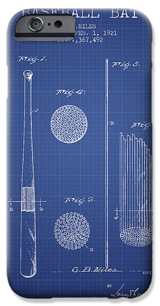 Baseball Glove iPhone Cases - Baseball Bat Patent From 1921 - Blueprint iPhone Case by Aged Pixel