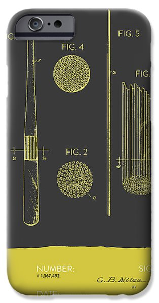 Baseball Glove iPhone Cases - Baseball Bat Patent From 1921 - Gray Yellow iPhone Case by Aged Pixel