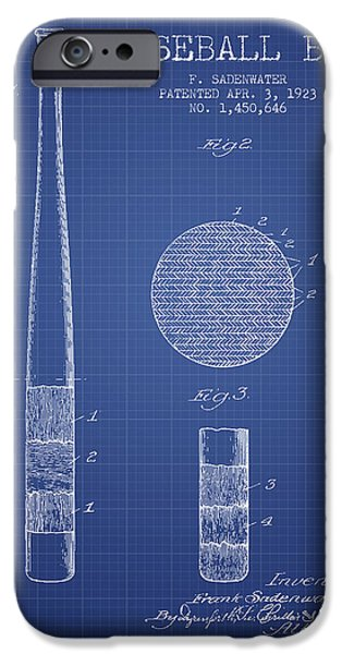 Baseball Glove iPhone Cases - Baseball Bat Patent From 1923 - Blueprint iPhone Case by Aged Pixel