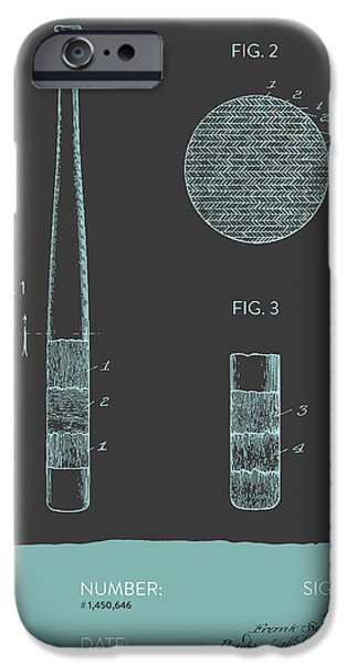 Baseball Glove iPhone Cases - Baseball Bat Patent From 1923 - Gray Blue iPhone Case by Aged Pixel
