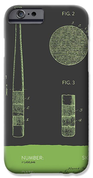 Baseball Glove iPhone Cases - Baseball Bat Patent From 1923 - Gray Green iPhone Case by Aged Pixel
