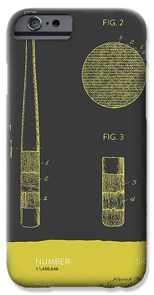 Baseball Glove iPhone Cases - Baseball Bat Patent From 1923 - Gray Yellow iPhone Case by Aged Pixel
