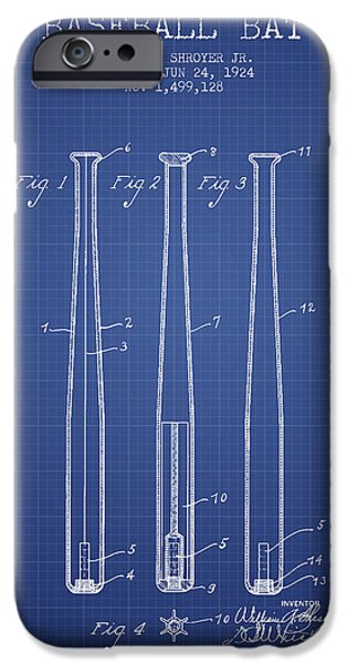 Baseball Glove iPhone Cases - Baseball Bat Patent from 1924 - Blueprint iPhone Case by Aged Pixel
