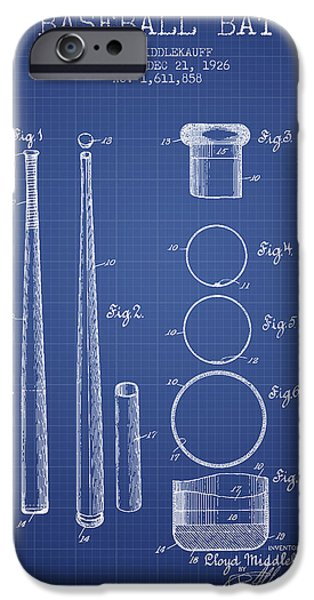 Baseball Glove iPhone Cases - Baseball Bat Patent from 1926 - Blueprint iPhone Case by Aged Pixel